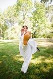 Asian practicing karate Stock Photography