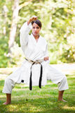 Asian practicing karate Royalty Free Stock Images