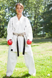 Asian practicing karate Royalty Free Stock Photography
