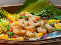 Asian prawn salad. Spicy Asian prawn salad in a basket Royalty Free Stock Photo