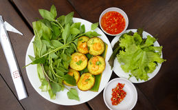 Asian Prawn Shrimp appetizers. Colorful Asian spicy prawn shrimp appetizers and salad Royalty Free Stock Photography