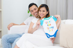 Asian pregnant wife and husband Stock Photo