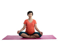 Asian Pregnant Woman Doing Yoga Stock Image