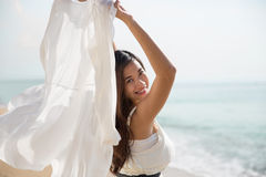 Asian pregnant woman enjoying nature with open arms Stock Images
