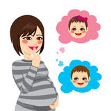 Asian Pregnant Woman Wondering Stock Photography