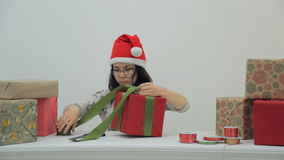 Asian prepares gifts for celebration of Christmas, New Year. stock footage