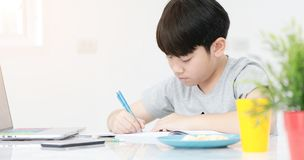 Asian preteens doing your homework with tablet. Asian preteens doing your homework with tablet computer with serious face Stock Photo