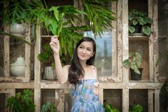 Asian pretty girl has relaxing with happy and smiling at Little Tree Garden cafe, Nakhon Pathom province, Thailand in the morning. Background beautiful beauty royalty free stock photo