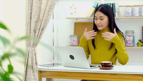 Asian Pretty girl joyful with laptop computer stock video