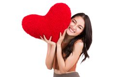 Asian pretty girl and a red heart Royalty Free Stock Photo