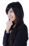 Asian pretty girl smile face and look to left Royalty Free Stock Photo