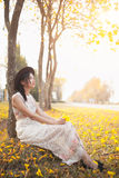 Asian pretty girl surrounded by the yellow flowers in summer.  Stock Photo
