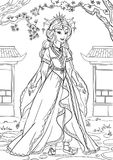 Asian Princess. Coloring page with a beautiful princess Royalty Free Stock Photo
