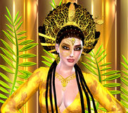Asian princess with gold crown against a gold and green background. Modern digital art beauty, fashion and cosmetics. Stock Photo