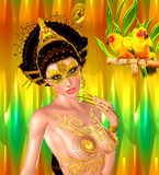 Asian princess with gold crown against a gold and green background. Modern digital art beauty, fashion and cosmetics. royalty free illustration