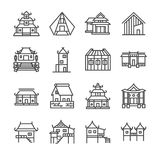 Asian property line icon set. Included the icons as Thai house, Japanese house , Chinese house, palace, home, estate and more. Line icon Illustration: Asian vector illustration