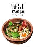 Asian ramen noodles in bowl Royalty Free Stock Photos