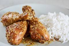Asian recipe of drumsticks with sesame Stock Image