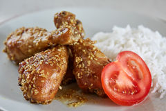 Asian recipe of drumsticks with sesame Stock Photo