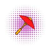 Asian red parasol or umbrella icon, comics style Stock Photos