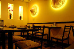 Asian restaurant. Interior of asian restaurant with decoration Royalty Free Stock Photos