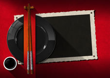 Asian Restaurant Menu with Photo Frame Stock Image