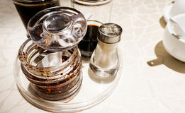 Asian restaurant table condiments Stock Photography