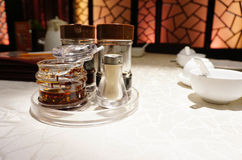 Asian restaurant table condiments Royalty Free Stock Photo