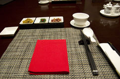 Asian restaurant table setting Royalty Free Stock Photos