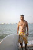 Asian Retiree in outdoor surf sports Royalty Free Stock Photography