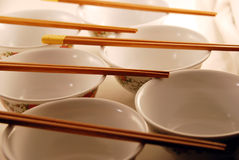 Asian rice bowls. Rice bowls and chop sticks ready for food Royalty Free Stock Image