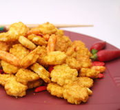 Asian Rice cookies. Some colourful asian rice cookies on a plate Royalty Free Stock Photo