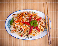 Asian rice noodle with chicken meat and chili star Stock Photo
