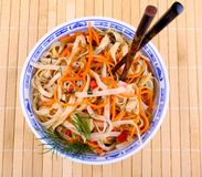 Asian rice noodle with chicken meat and chopsticks, close up Stock Images