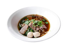 Asian rice noodle recipe, isolated on white background. Royalty Free Stock Photo