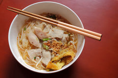 Free Asian Rice Noodle Soup With Pork, Fish Ball And Crisps Dumpling. Stock Photo - 47396790