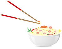 Asian rice with seafood vector illustration Royalty Free Stock Photos