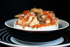 Asian rice topped with chicken Royalty Free Stock Photo