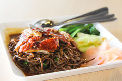 Asian Roast Duck black Noodle Royalty Free Stock Photo