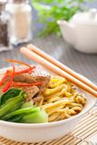 Peking duck noodle. Asian roasted duck noodle soup royalty free stock images
