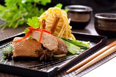 Peking duck noodle. Asian roasted duck noodle soup royalty free stock photos
