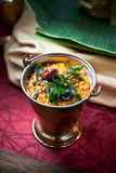 Asian Roasted Tomato and Lentil Dip. On an Indian settings Royalty Free Stock Photo