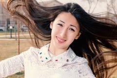 Asian Romantic Girl Outdoors. Beautiful Japanese Stock Image