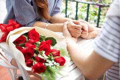 Asian romantic young couple enjoy Valentine Stock Images