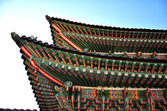 Asian roof. Seoul, Korean traditional architecture, sky, asian roof Royalty Free Stock Images