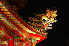 Asian roof design. Colorful dragon on the roof of a Buddhist temple in Taiwan stock photo