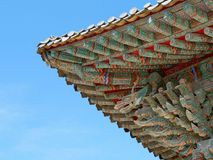 Asian roof detail. Detail of traditional roof at Korean temple Stock Photo
