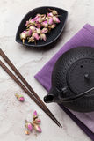 Asian rose tea and teapot Royalty Free Stock Images
