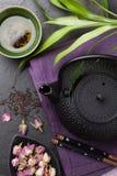 Asian rose tea and teapot Stock Photography