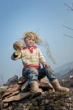Asian rural child carrying pumpkin Royalty Free Stock Image